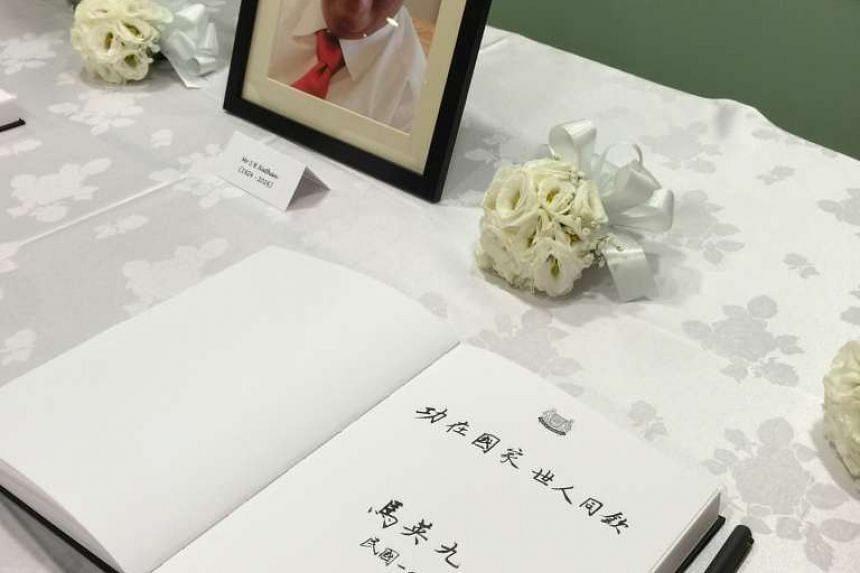 """The message penned by former Taiwan president Ma Ying-jeou on the condolence book for former Singapore president S R Nathan in Chinese calligraphic script. It read : """"Effort for the country, enjoyed by all."""""""