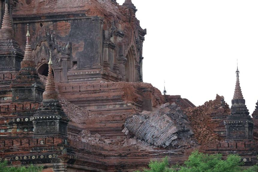 Collapsed walls surround an ancient pagoda after a 6.8 magnitude earthquake hit Bagan on Aug 24, 2016.