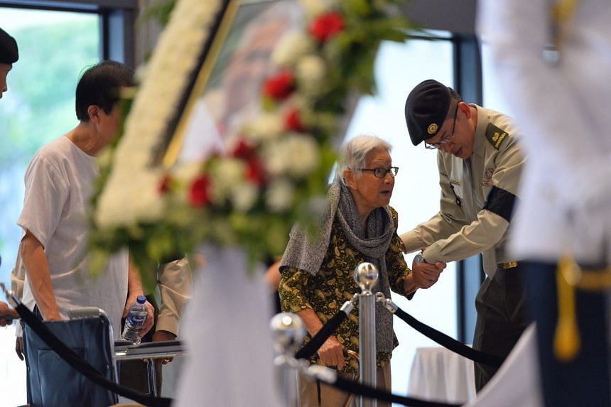 Member of the public Madam Yeo Kheng Neo, 94, arrives at Parliament House to pay her last respects.