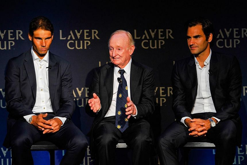 (left to right) Rafael Nadal, Rod Laver and Roger Federer speak during a Laver Cup media announcement Aug 24, 2016.