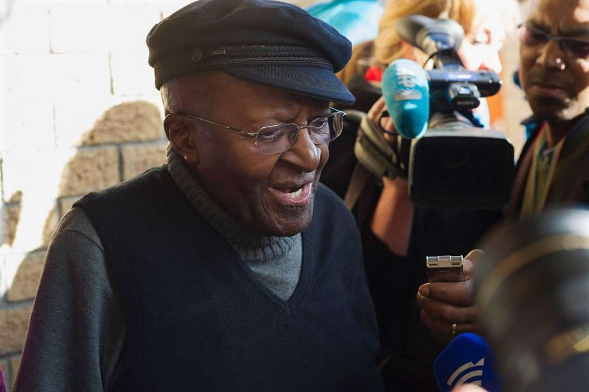 South African anti-apartheid activist and Nobel Peace Laureate Desmond Tutu speaking to journalists on Aug 3, 2016.