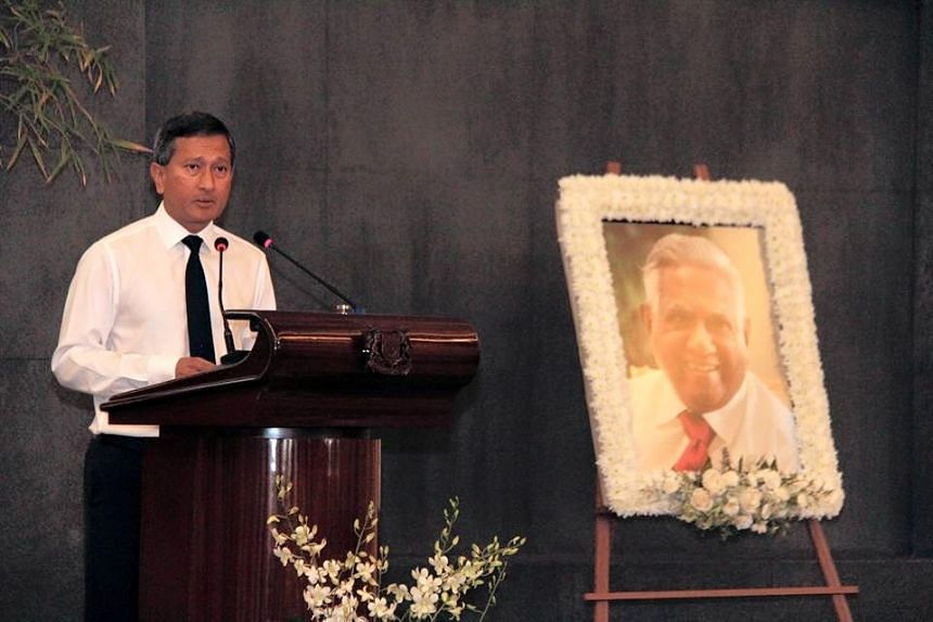 Foreign Minister Vivian Balakrishnan at the MFA's remembrance ceremony for Mr S R Nathan on Aug 24, 2016.