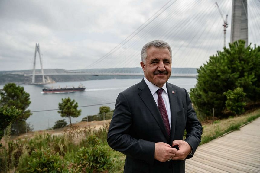 Turkish Minister of Transport, Maritime and Communication Ahmet Arslan during an interview on Aug 23, 2016 near the newly built Yavuz Sultan Selim bridge in Istanbul.