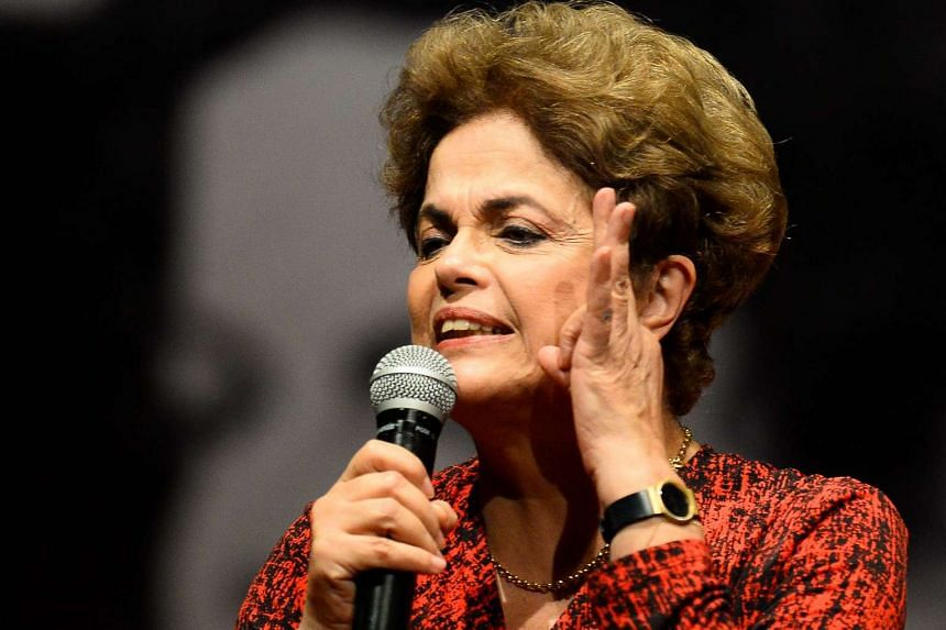 Brazilian suspended President Dilma Rousseff speaks during a Workers' Party rally in Brasilia on Aug 24, 2016.