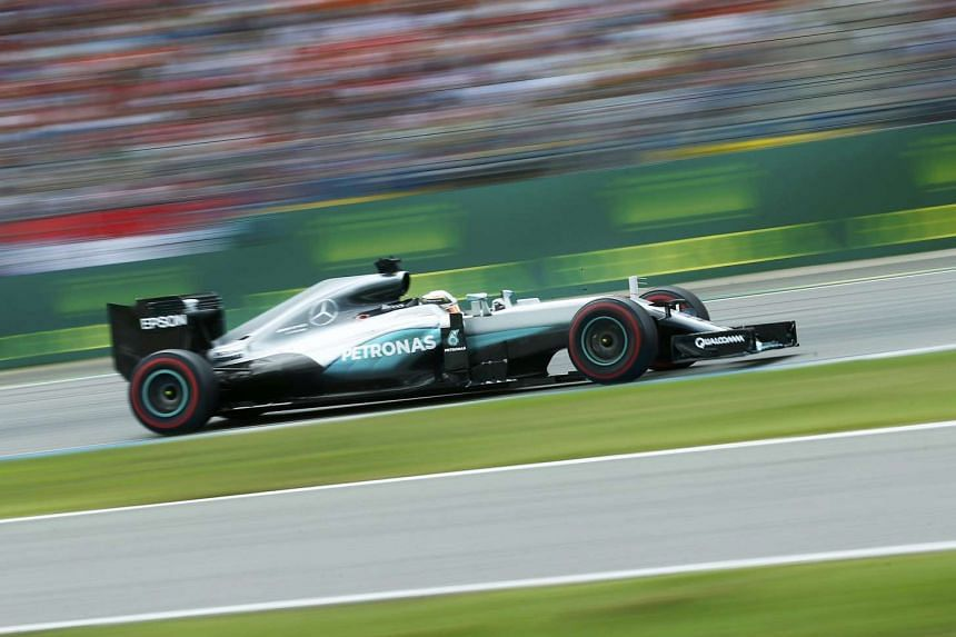 Mercedes' Lewis Hamilton during the race on July 31 in Germany.