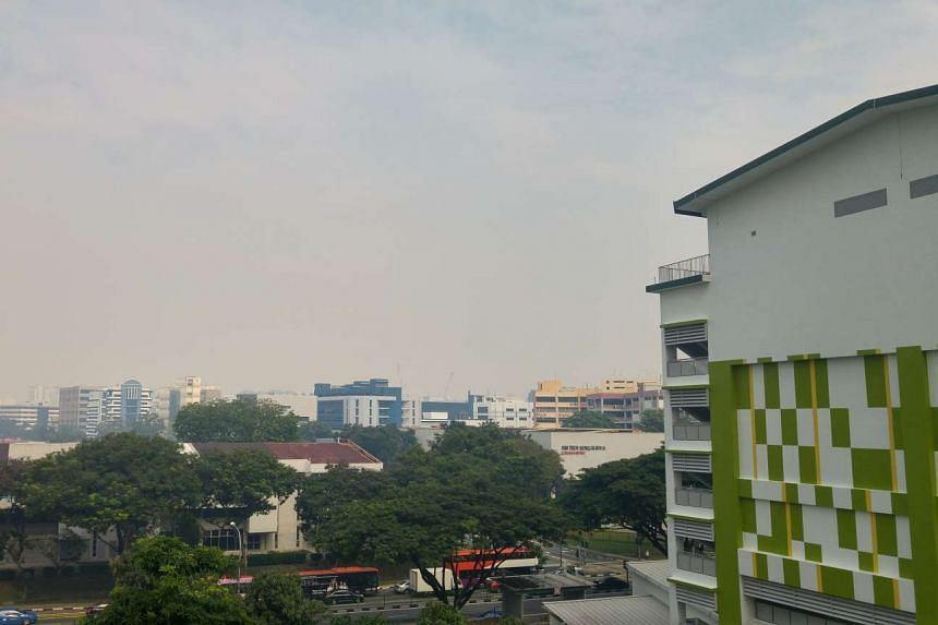 The hazy view at Aljunied Road.