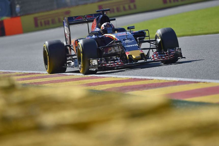 Red Bull Racing's Belgian-Dutch driver Max Verstappen drives his car during the first practice session at the Spa-Francorchamps circuit in Spa on Aug 26, 2016