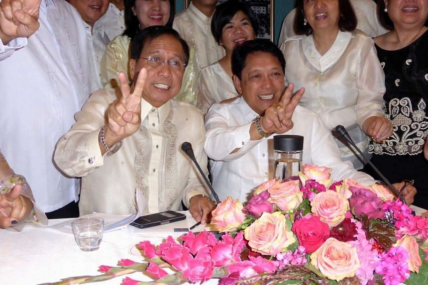 Mr Luis Jalandoni (eft), negotiator for the communist National Democratic Front of the Philippines, sits with government peace negotiator Silvestre Bello at the start of a round of peace talks in Oslo, Norway, Aug 22, 2016.