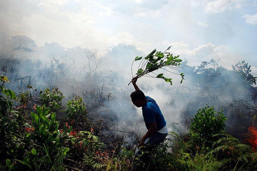 A man trying to put out a bush fire in Pekanbaru, Sumatra, earlier this week.