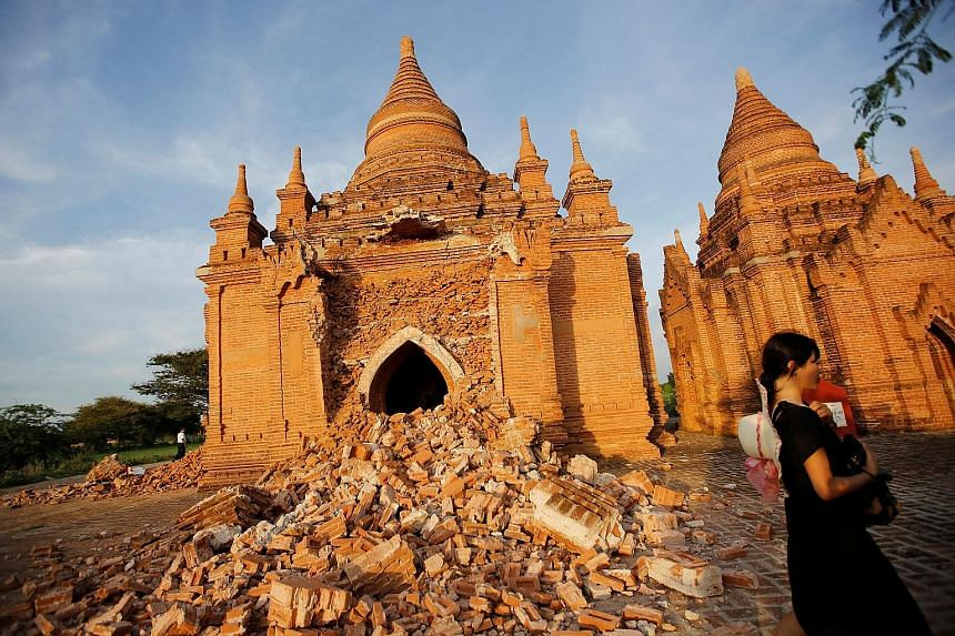 At least 187 temples in Bagan were damaged by the quake on Wednesday.