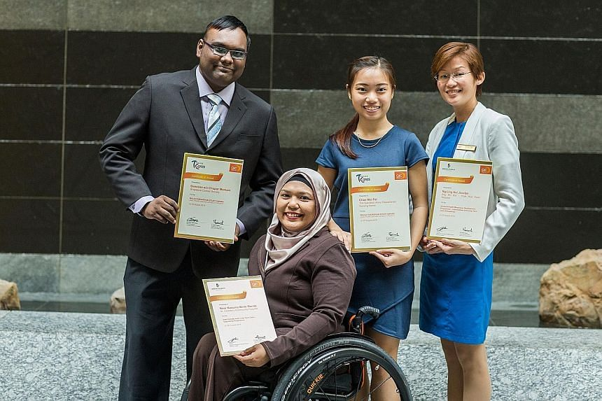 Recipients at the Intermediate and Long-Term Care Manpower Development Awards event included (from left) Mr Ganesan Chupar Maniam, Ms Noor Kesuma Manap, Ms Chan Mei Fei and Ms Jocelyn Ng.