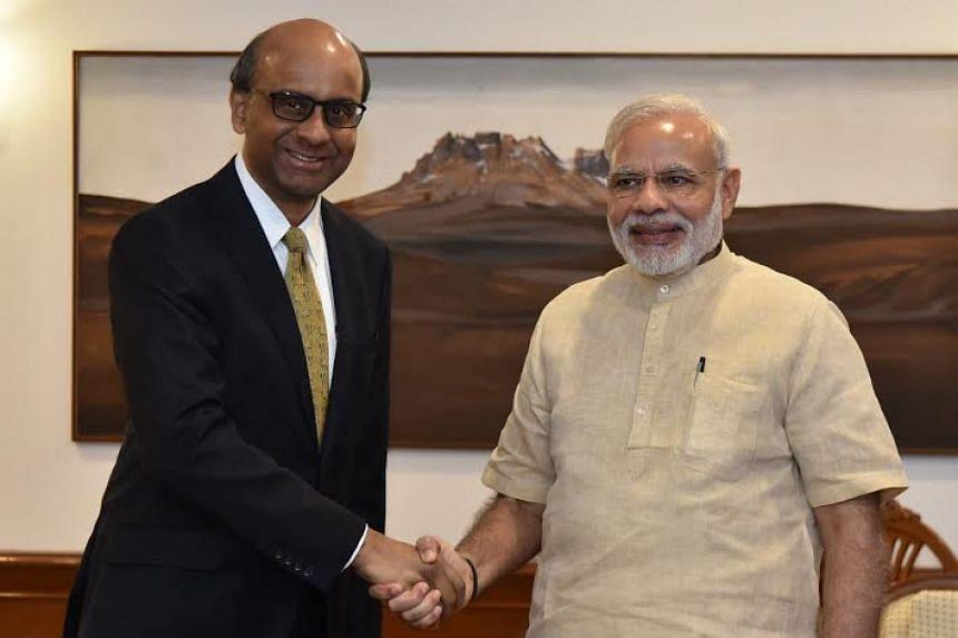 Singapore's Deputy Prime Minister Tharman Shanmugaratnam calling on Indian Prime Minister Narendra Modi in New Delhi on Aug 25, 2016.