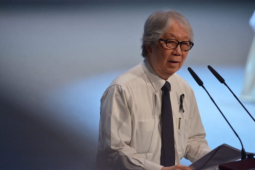 Ambassador-at-large delivering his eulogy, at the state funeral for former president S R Nathan at the University Cultural Centre on Aug 26, 2016.