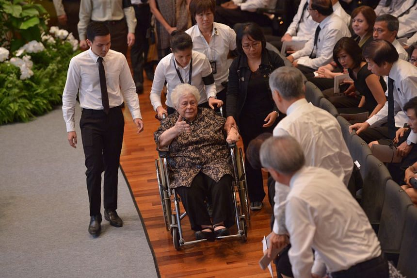 Mrs Urmila Nathan, the wife of the late former president S R Nathan, arriving at the University Cultural Centre for his state funeral, on Aug 26, 2016.