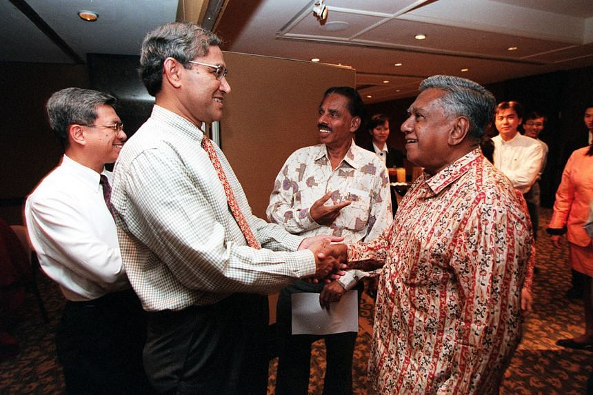 Mr Zainul Abidin Rasheed and Mr S R Nathan at the Inter-Religious Organisation 50th anniversary dinner in 1999.