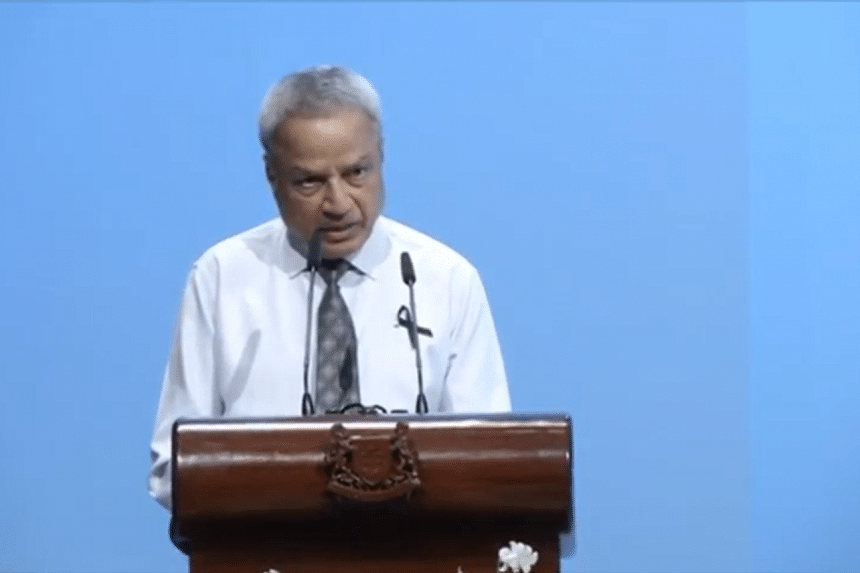 Businessman Ramaswarmy Athappan delivering his eulogy for the late former president S R Nathan, at the University Cultural Centre on Aug 26, 2016.