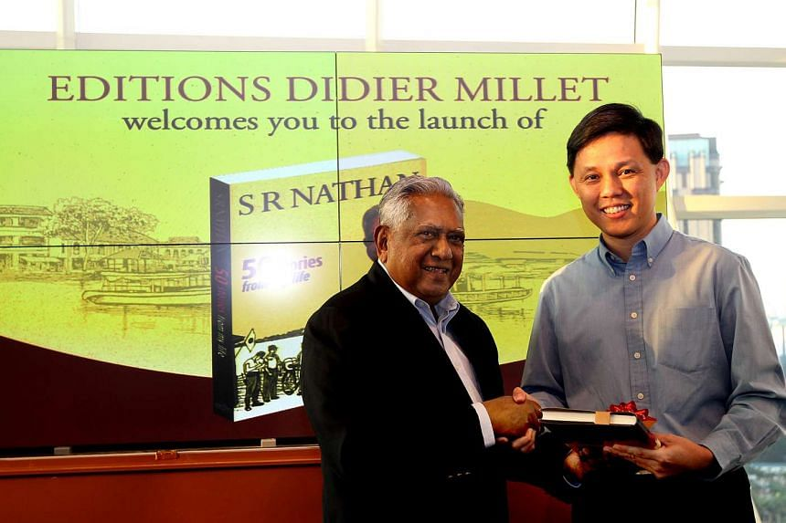 Mr S R Nathan and Mr Chan Chun Sing at the launch of Mr Nathan's book, 50 Stories From My Life.