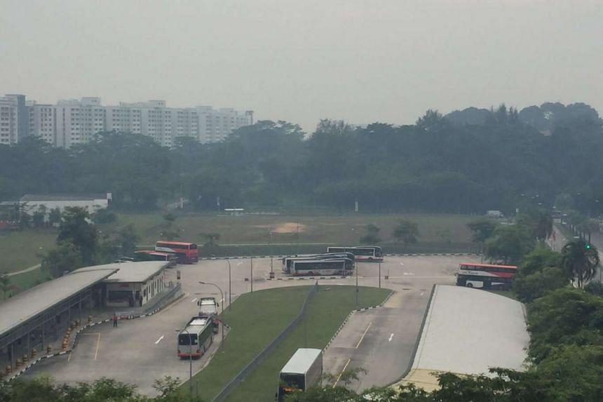 The haze seen at Sembawang at 9am on Friday.