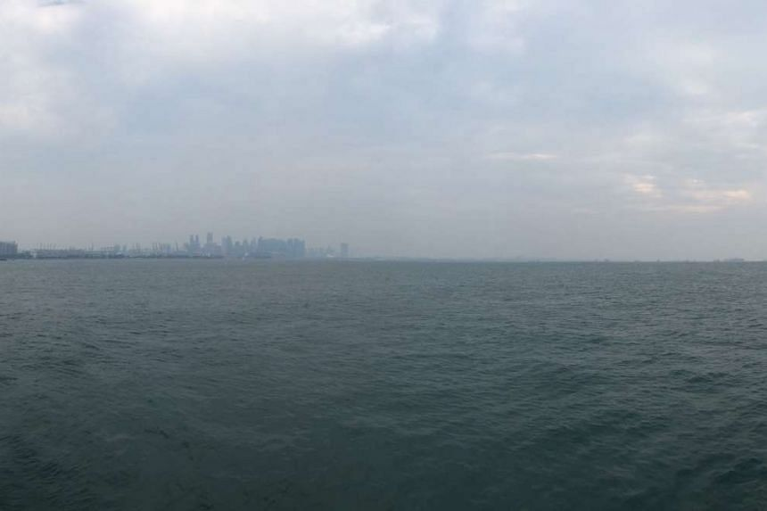 The hazy view of Singapore's skyline on Friday morning.