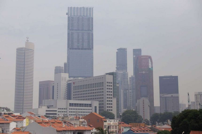 A hazy view of the Chinatown and Tanjong Pagar district, photographed at 2.50pm on Aug 26 from 531 Upper Cross Street.