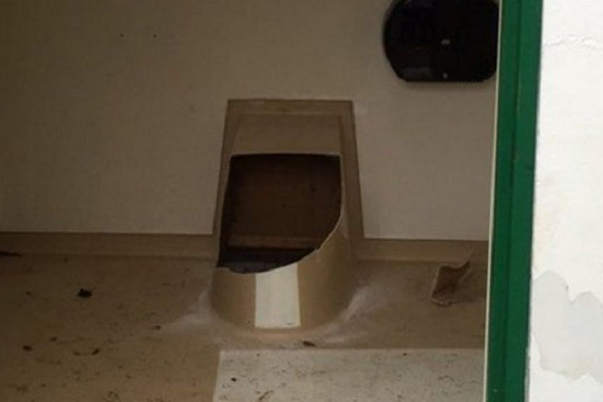 Firefighters had to destroy the toilet to get him out.