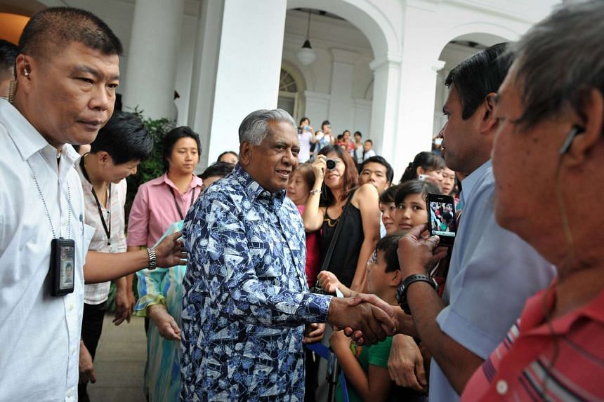 President S R Nathan meeting visitors during an open house at the Istana to celebrate Hari Raya Puasa on Aug 30, 2011.