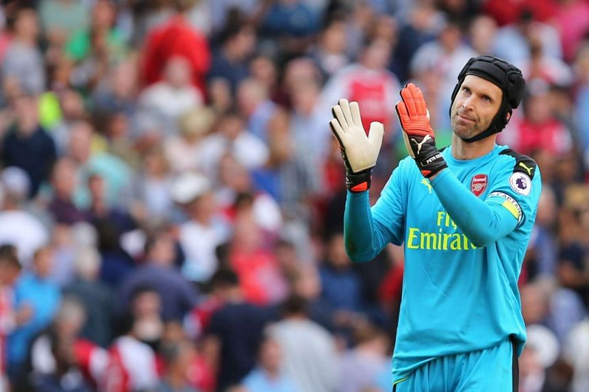 Arsenal's Czech goalkeeper Petr Cech reacting after the final whistle during the English Premier League football match between Arsenal and Liverpool on Aug 14, 2016.