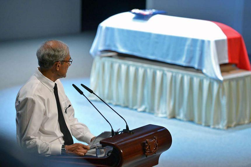 Mr Zainul Abidin Rasheed giving his eulogy on Aug 26, 2016.