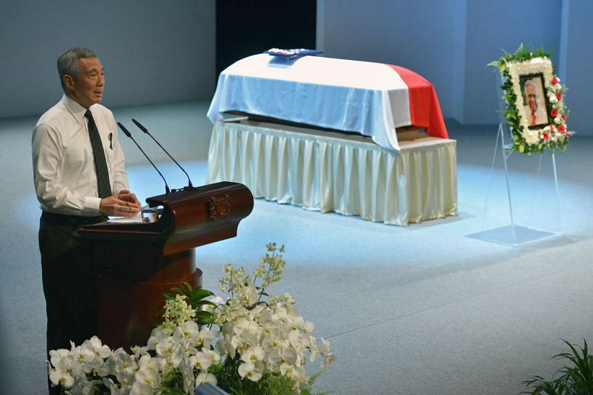 PM Lee Hsien Loong giving his eulogy at the State Funeral Service of the late Mr SR Nathan held at University Cultural Centre on Friday, August 26.