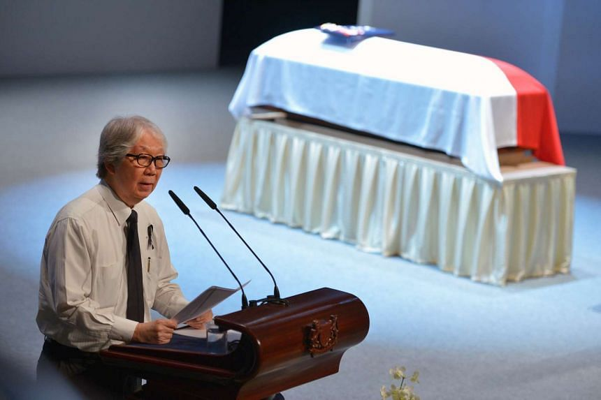 Professor Tommy Koh at the State Funeral Service of the late Mr SR Nathan held at University Cultural Centre on Friday, Aug 26.