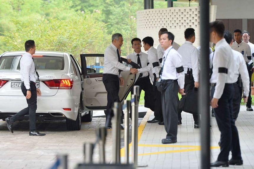 PM Lee arriving at Mandai Crematorium on Aug 26, 2016.