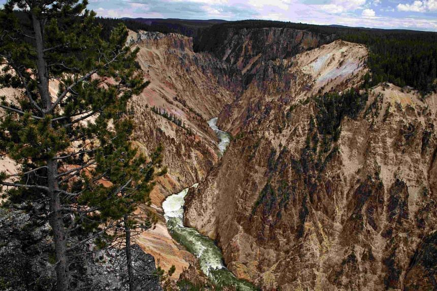 The Grand Canyon of the Yellowstone River in Yellowstone National Park, Wyoming, US, on June 24, 2011.