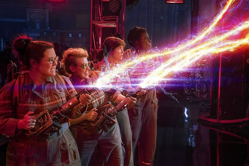 Ghostbusters (2016), which stars (from far left) Melissa McCarthy, Kate McKinnon, Kristen Wiig and Leslie Jones, is fun and exciting when viewed in 3D.