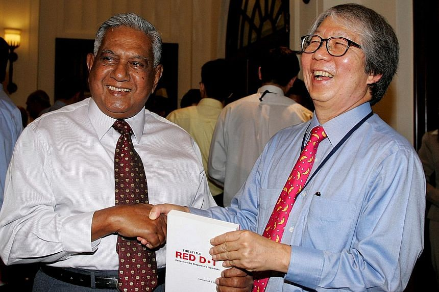 Professor Koh with Mr Nathan at the 2005 launch of a book titled The Little Red Dot: Reflections By Singapore's Diplomats.