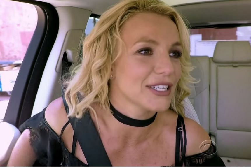 Britney Spears in a screenshot from her Carpool Karaoke appearance.