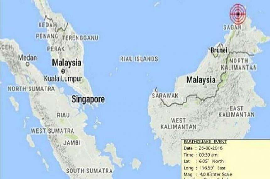 A 4.0-magnitude earthquake hit the Mount Kinabalu area in East Malaysia, some 16km west of Ranau on Aug 26, 2016.