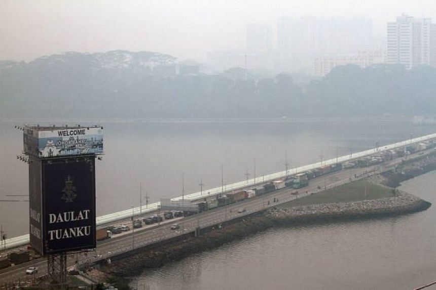The haze blanketed southern Johor and Singapore on Aug 26, 2016.
