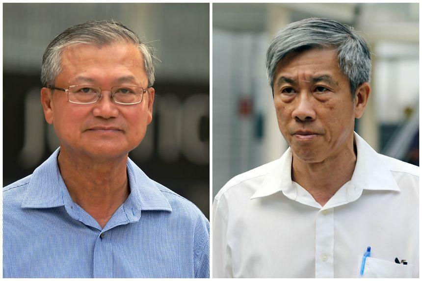Former senior vice-president Mok Kim Whang (left) and former chief operating officer and deputy president Han Yew Kwang.