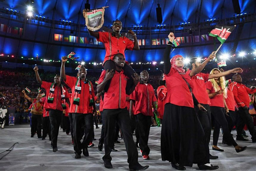 Members of the Kenya delegation at the opening ceremony of the Rio 2016 Olympic Games on Aug 6, 2016.