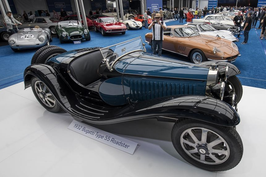 Among the vehicles on display were a 1959 Ferrari SpA 250 GT LWB California Spider and a 1932 Bugatti Type 55 Roadster (left).
