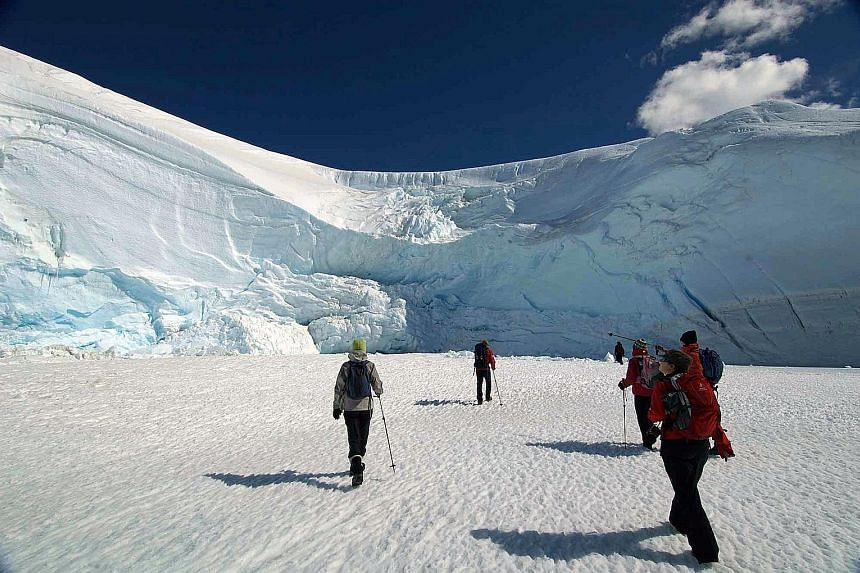 Visitors can get up close to penguins or trek below an icefall (above).
