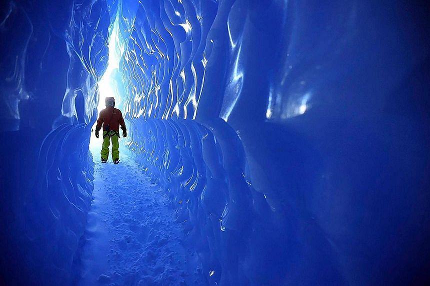 Walk through an ice tunnel in Antarctica.