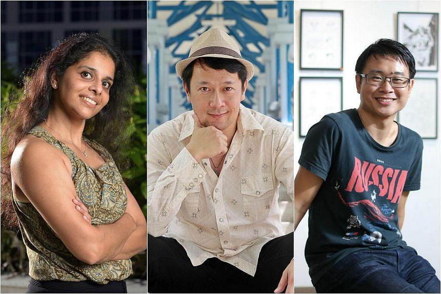 Singapore authors (from left) Krishna Udayasankar, Sebastian Sim and Sonny Liew.