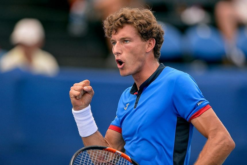 Pablo Carreno Busta reacts during his win over Roberto Bautista Agut in the men's singles championship final of the Winston-Salem Open on Aug 27, 2016.