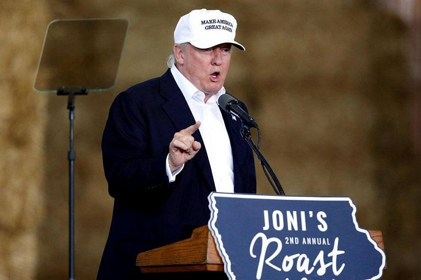 Republican presidential nominee Donald Trump speaks at Iowa Senator Joni Ernst's Roast and Ride at the Iowa State Fairgrounds in Des Moines on August 27.