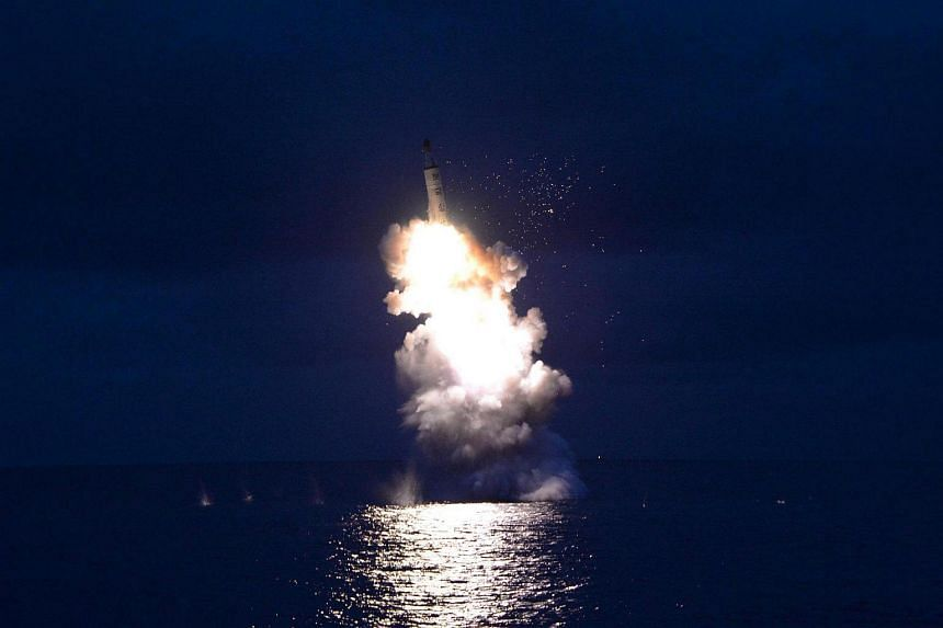 A test-fire of strategic submarine-launched ballistic missile is seen in this undated photo released by North Korea's Korean Central News Agency (KCNA) in Pyongyang on Aug 25.
