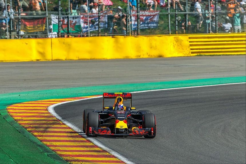 Dutch Formula One driver Max Verstappen during the last lap of the third practice session for the Formula One Grand Prix in Belgium on Aug 26, 2016.