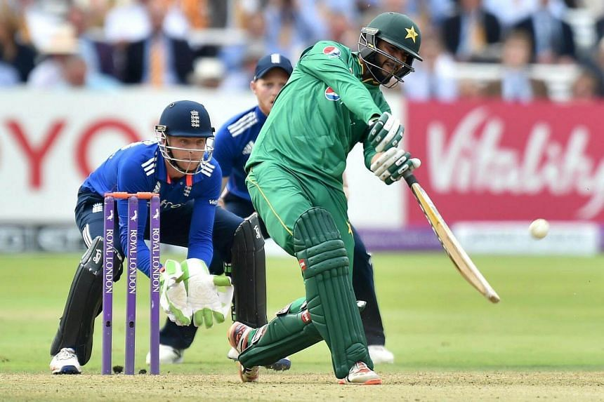 Pakistan's Imad Wasim (right) hits a six during play in the second one day international (ODI) cricket match between England and Pakistan on Aug 27.