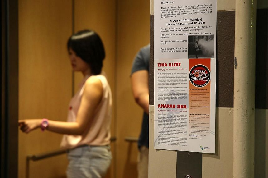 A poster at a lift lobby informing residents of the first case of locally transmitted Zika virus in Singapore.