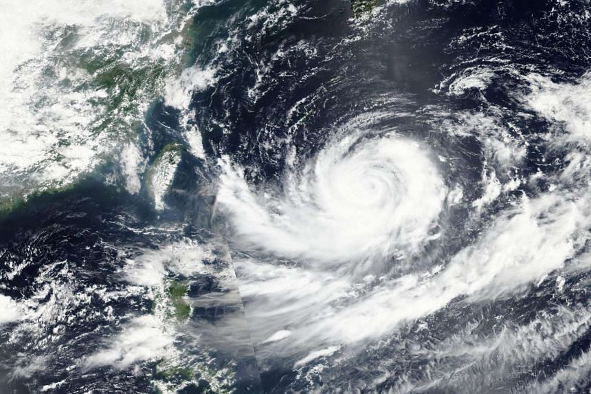 Satellite imagery showing Typhoon Lionrock gathering strength off the east coast of Japan on Aug 26, 2016.